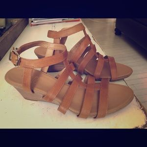 Franco Sarto Camel Leather Strappy Sandals Size 9